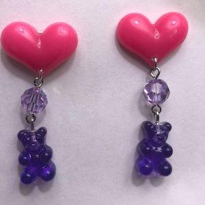 Sweetheart sweet teddy pink heart purple earrings